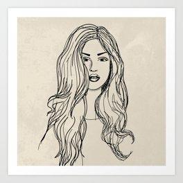 Hand drawn woman with long hair Art Print