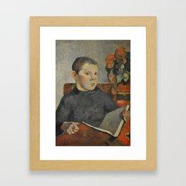 """Paul Gauguin - Clovis, portrait of the artist's son """"Le Liseur"""" (1886) Framed Art Print"""