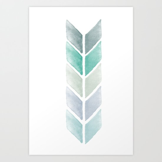 Chevron Watercolor Mint and Blue  Art Print