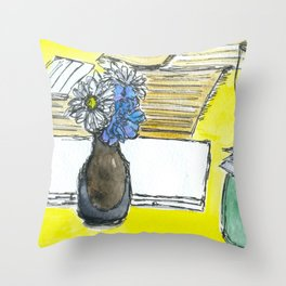 Mini Ikebana on a table Throw Pillow