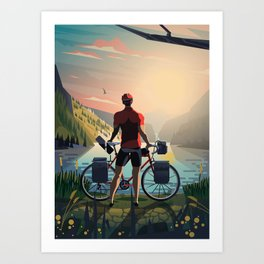 Around the world on two wheels Art Print