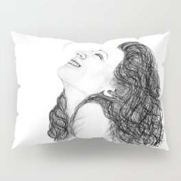 Tell Me Something Good in B/W - Expressions of Happiness Series - Black and White Original Drawing Pillow Sham