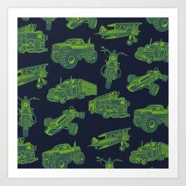 On the Go Green & Blue Transportation Art Print