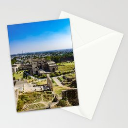 Looking Down at the Entry Courtyard of Golconda Fort and into the City of Hyderabad, India Stationery Cards