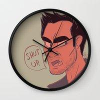 derek hale Wall Clocks featuring Derek by The Art of Nicole