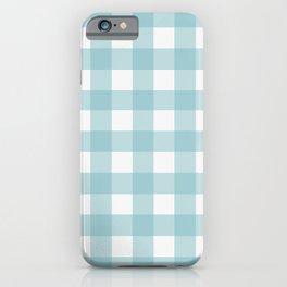Light Aqua Buffalo Check Plaid iPhone Case