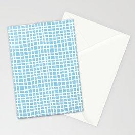 blue random cross hatch lines checker pattern Stationery Cards