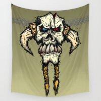 viking Wall Tapestries featuring Viking skull  by N.Kachaktano