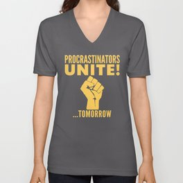 Procrastinators Unite Tomorrow (Blue) Unisex V-Neck
