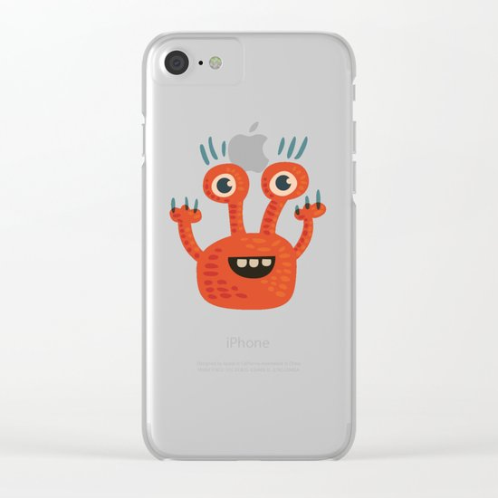 Funny Orange Happy Creature Clear iPhone Case
