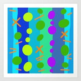 Party Time / Blue Art Print