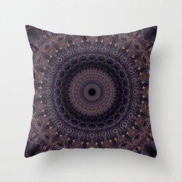 Mandala in cherry and plum tones Throw Pillow