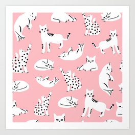 Cat Pattern - Pink Art Print