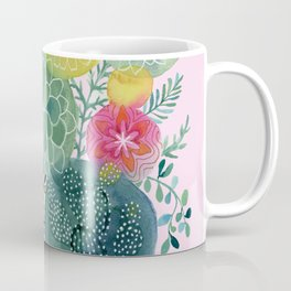 Succulent Circles on Pink Coffee Mug