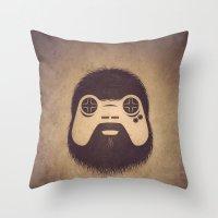 gamer Throw Pillows featuring The Gamer by powerpig