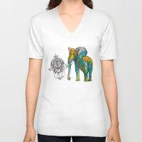 boho V-neck T-shirts featuring BOHO ELEPHANT by Nizhoni Creative Studio
