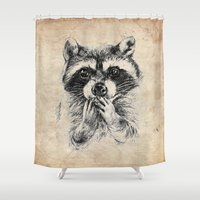 rocket raccoon Shower Curtains featuring Surprised raccoon by Anna Shell