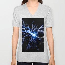 Blue Thunder Colorful Lightning digital impression Unisex V-Neck