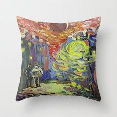 Loneliness under the street light Throw Pillow