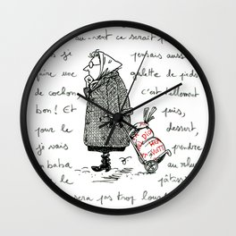 A Few Parisians: Marché de Passy by David Cessac Wall Clock