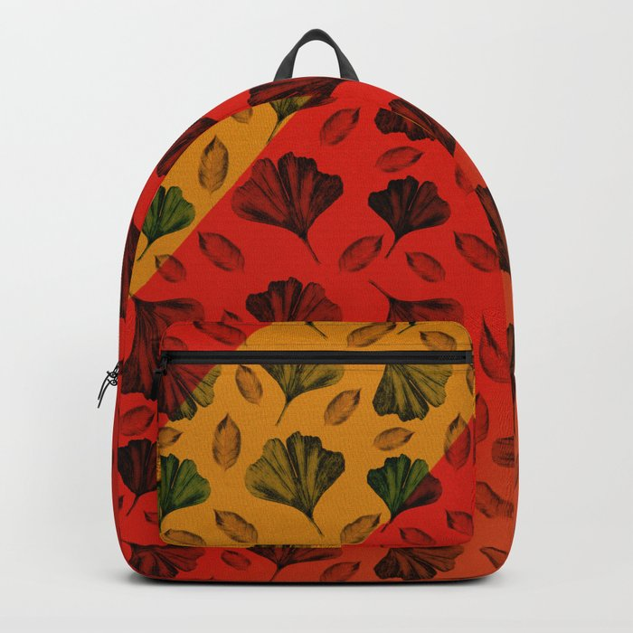 Ginkgo Pattern on Stripe Gradient Backpack