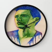 james franco Wall Clocks featuring James Franco by Kristy Holding