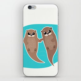 Cute Otters - Cuddle Party iPhone Skin