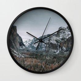 Snow at Yosemite's Tunnel View Wall Clock