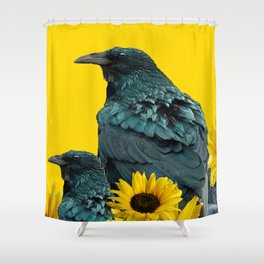 TWO CROW/RAVEN BIRD PORTRAITS & SUNFLOWERS GOLD  ART Shower Curtain