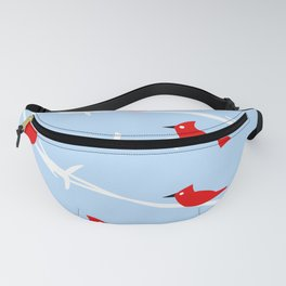 Red Cardinal Birds on Barbed wire Fanny Pack