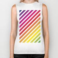 striped Biker Tanks featuring Striped Rainbow by Stephanie Keyes Design
