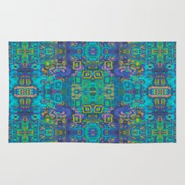 Boho Hippie Garden Floral Pattern - Turquoise Blue Rug