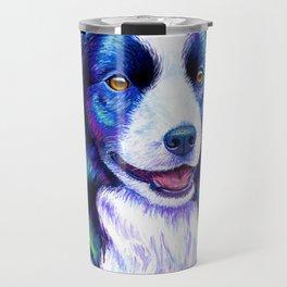 Colorful Border Collie Dog Travel Mug