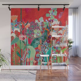 Red floral Jungle Garden Botanical featuring Proteas, Reeds, Eucalyptus, Ferns and Birds of Paradise Wall Mural