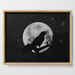 crow and moon Serving Tray