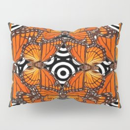 Monarch Butterflies Migration in orange & Grey Pattern Art Pillow Sham
