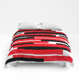 Red Primitive Stripes Mid Century Modern Minimalist Watercolor Gouache Painting Colorful Stripes Wat Comforters
