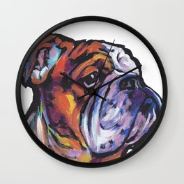 Fun English Bulldog Dog Portrait bright colorful Pop Art Painting by LEA Wall Clock