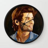 zayn malik Wall Clocks featuring ZAYN MALIK PORTRAIT by Danny Spikes