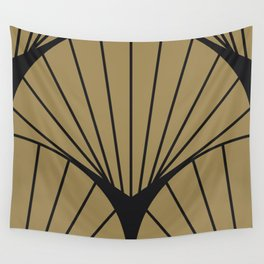 Diamond Series Round Sun Burst Charcoal on Gold Wall Tapestry