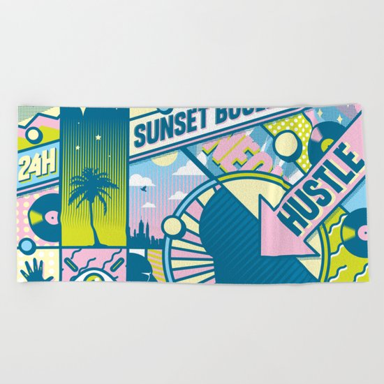 Sunset Boulevard Hustle Beach Towel