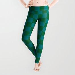 Teal Green and Cadmium Green Checkerboard Leggings