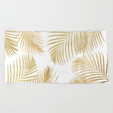 Gold Palm Leaves Beach Towel