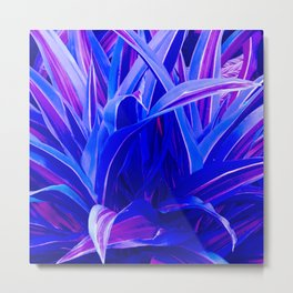 Exotic, Lush Fantasy Blue and Neon Pink Leaves Metal Print
