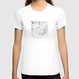 black and white city spiral digital painting T-shirt