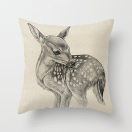 Animal Art | Deer Drawing | Nursery | Baby Room | Fawn | Bambi Throw Pillow