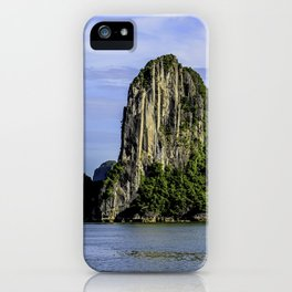 Beautiful Limestone Cliffs Covered in Green Trees and Bushes Rising up from Halong Bay, Vietnam iPhone Case