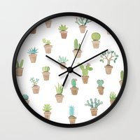 cacti Wall Clocks featuring Cacti by Yardia