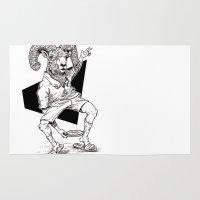 ram Area & Throw Rugs featuring Ram by Hopler Art