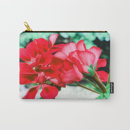 Red FlowERS Green Bokeh Carry-All Pouch